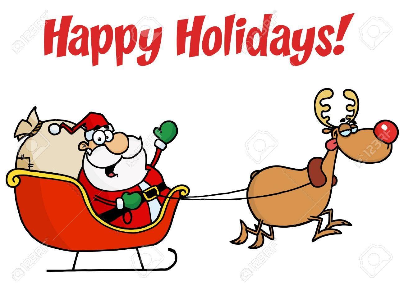 Happy holidays greeting with santa and rudolph with a sleigh happy holidays greeting with santa and rudolph with a sleigh stock vector 6905401 kristyandbryce Choice Image
