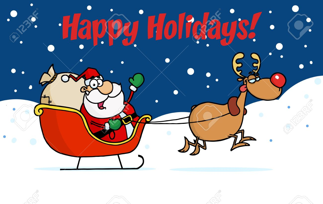 Uncategorized Santa And Rudolph happy holidays greeting with santa and rudolph the sleigh stock vector 6905447