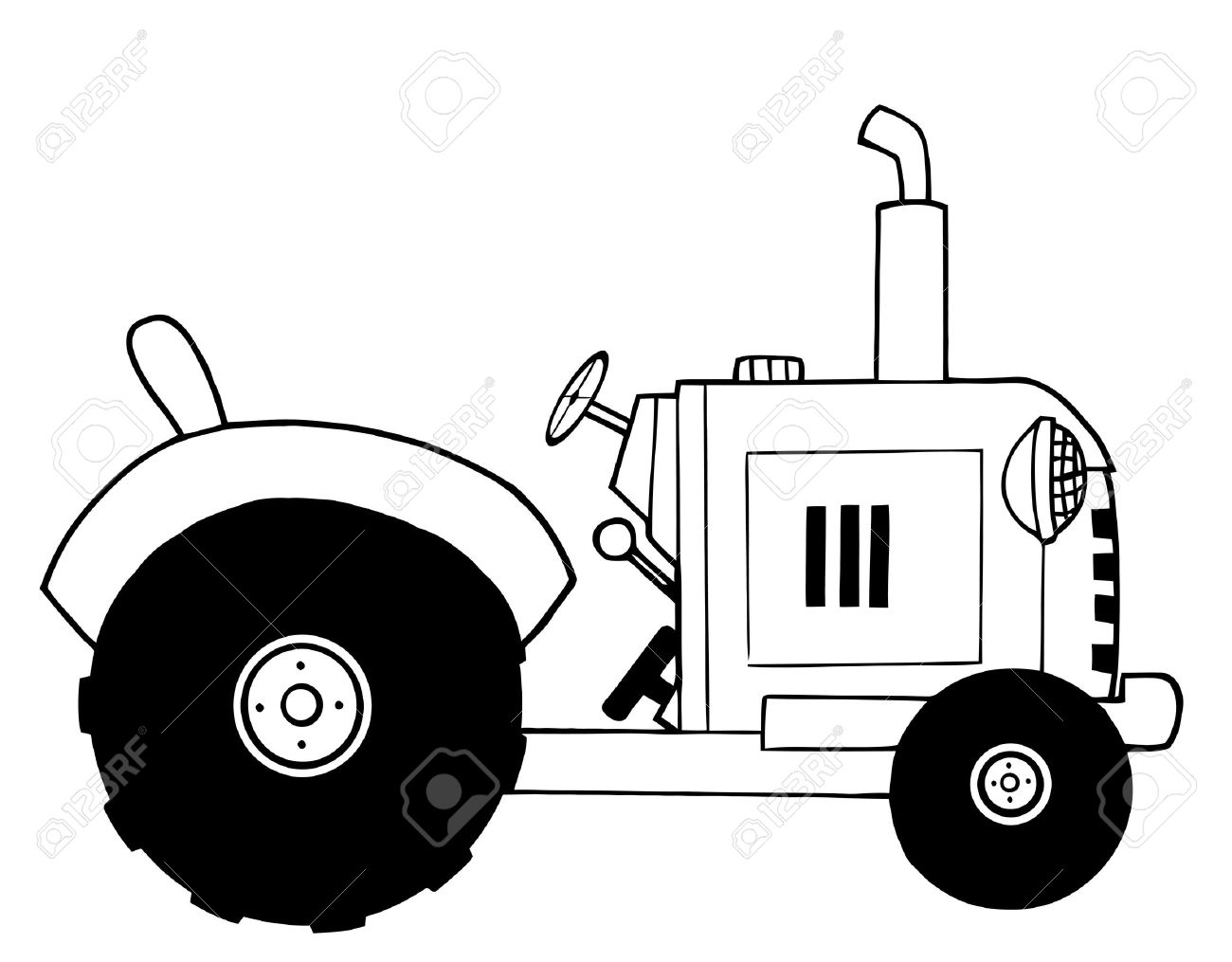 black and white farm tractor royalty free cliparts vectors and rh 123rf com