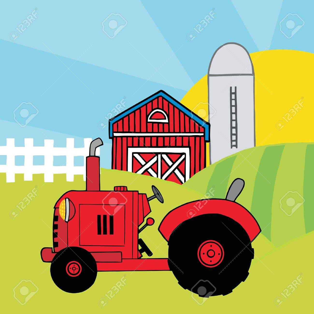 Cow on green pasture with red barn with grain silo royalty free stock - Red Barn Red Farm Tractor In A Pasture Near A Barn And Silo