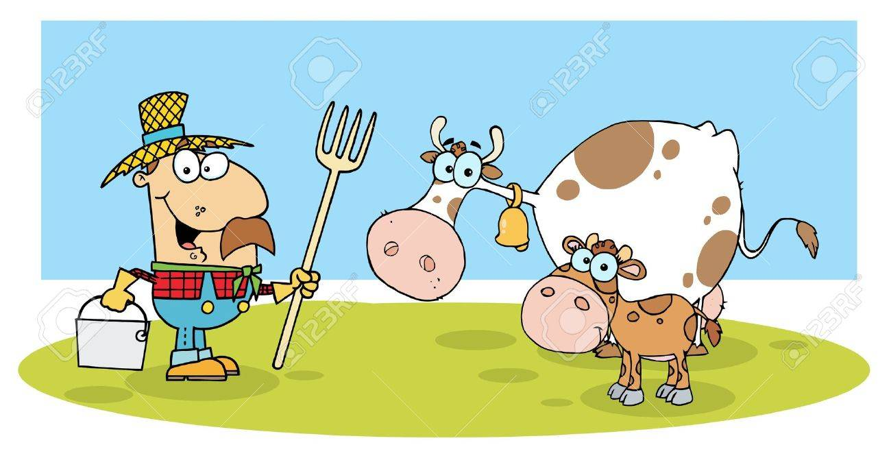 Caucasian Farmer With His Cattle Stock Vector - 6946480