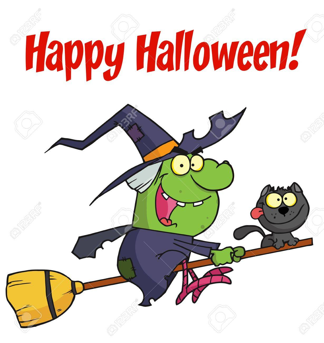 happy halloween greeting over a green witch stock vector 6946460 - Halloween Witch Cartoon