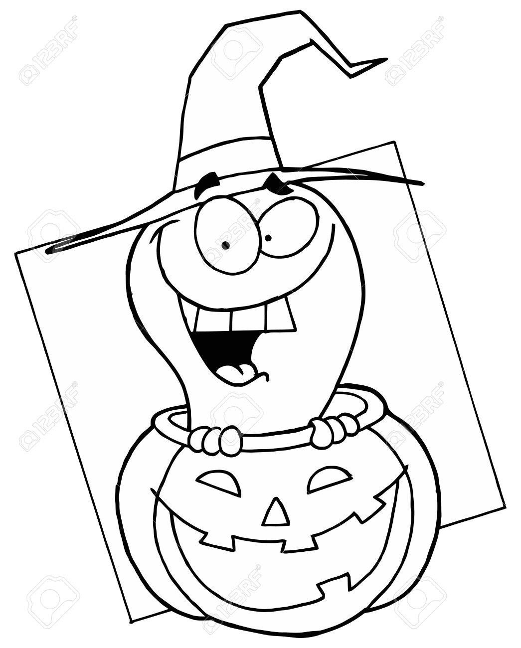 Outlined Ghost in Pumpkin Stock Photo - 6971250
