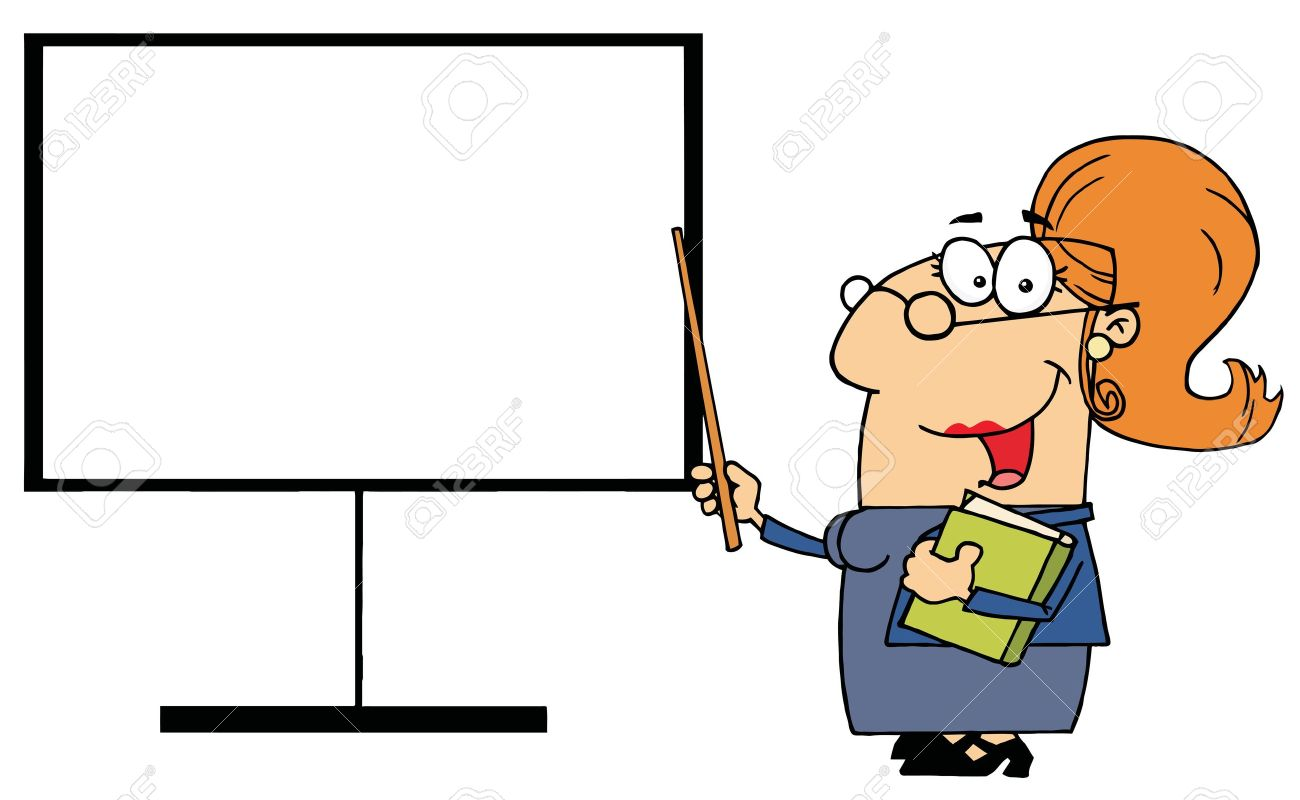 Happy Female Teacher Pointing To A Blank Board Stock Vector - 6971140