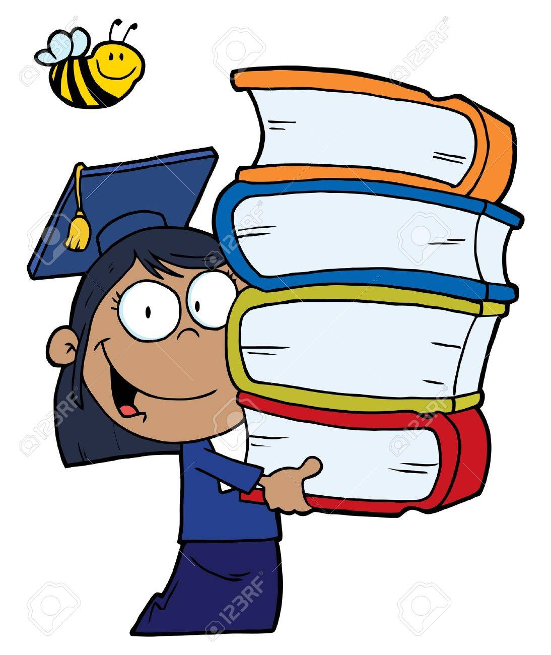 Bee Over An African American Graduate School Girl Carrying A Stack Of Books Stock Vector - 6971184