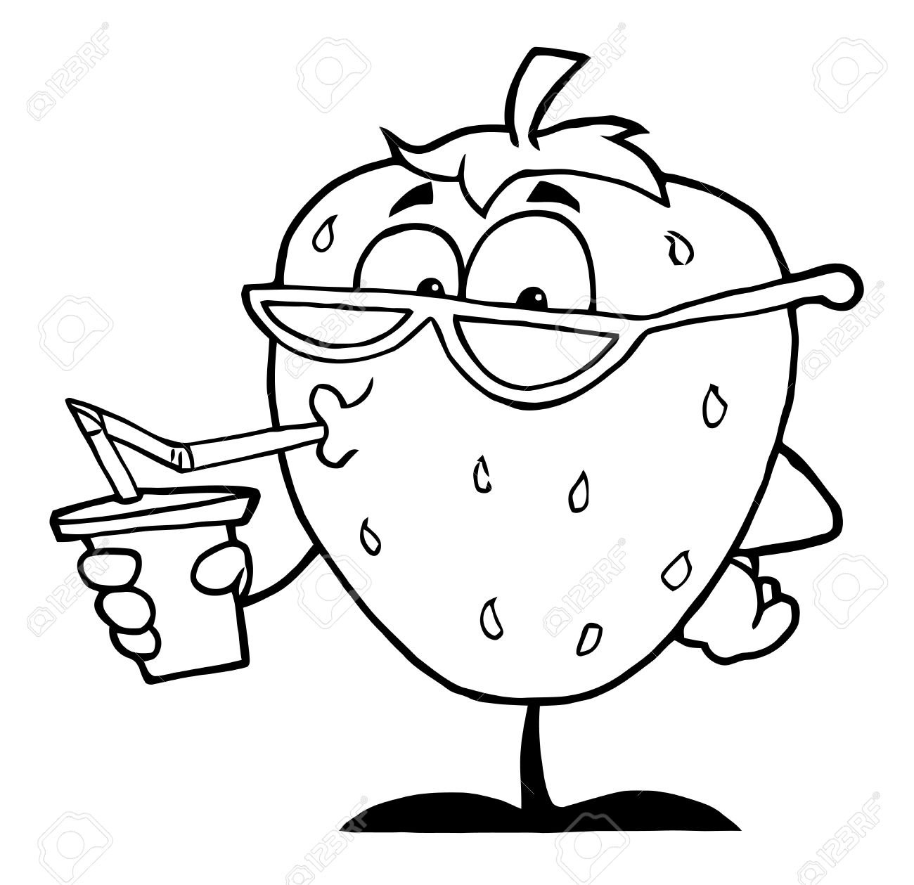 Outline Of A Strawberry Cartoon Character Juice Drink Stock Photo ...