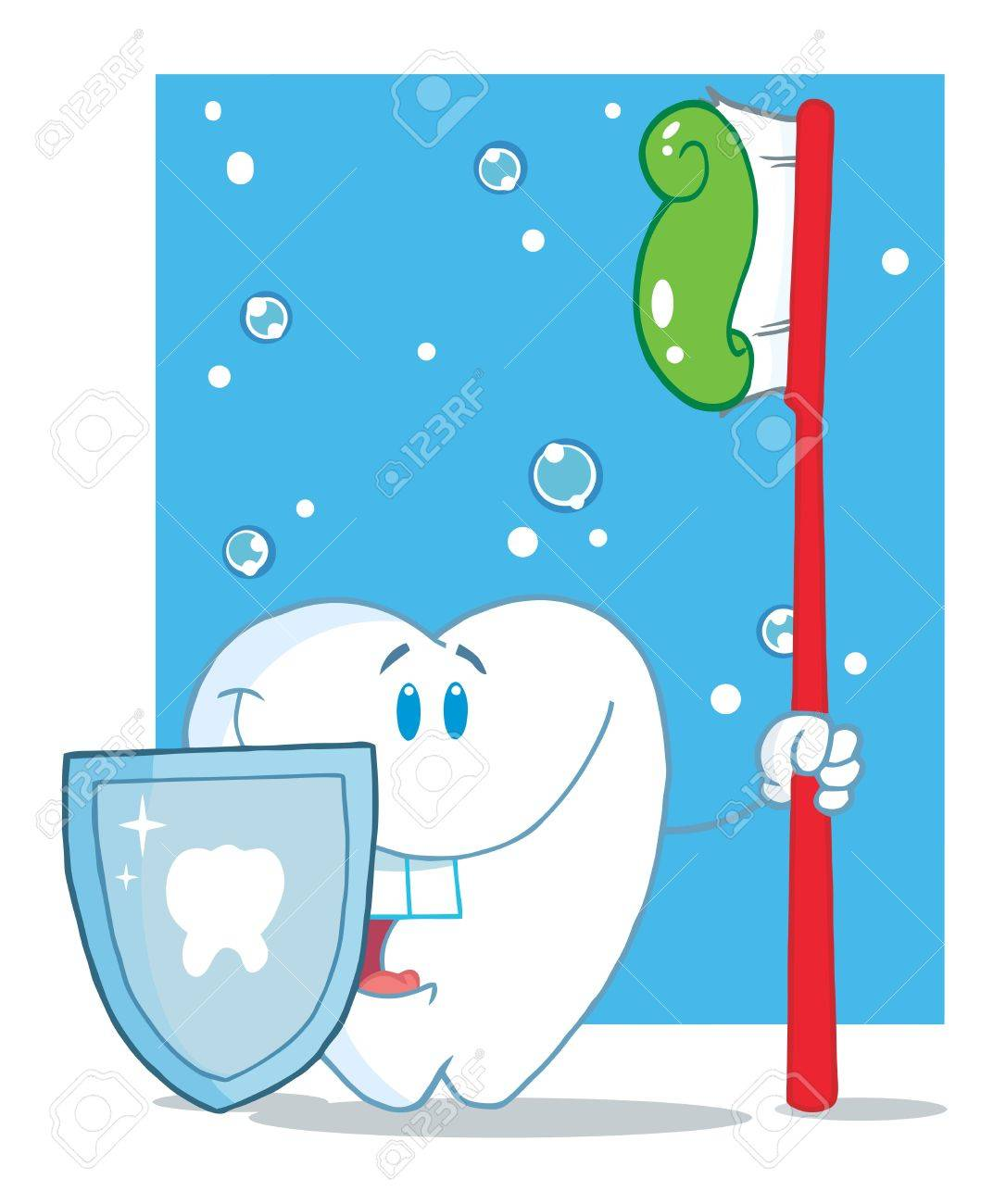Happy Smiling Tooth With Toothbrush And Shield Stock Photo - 7474710