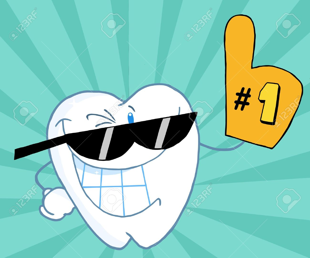 smiling tooth cartoon mascot character number one stock photo