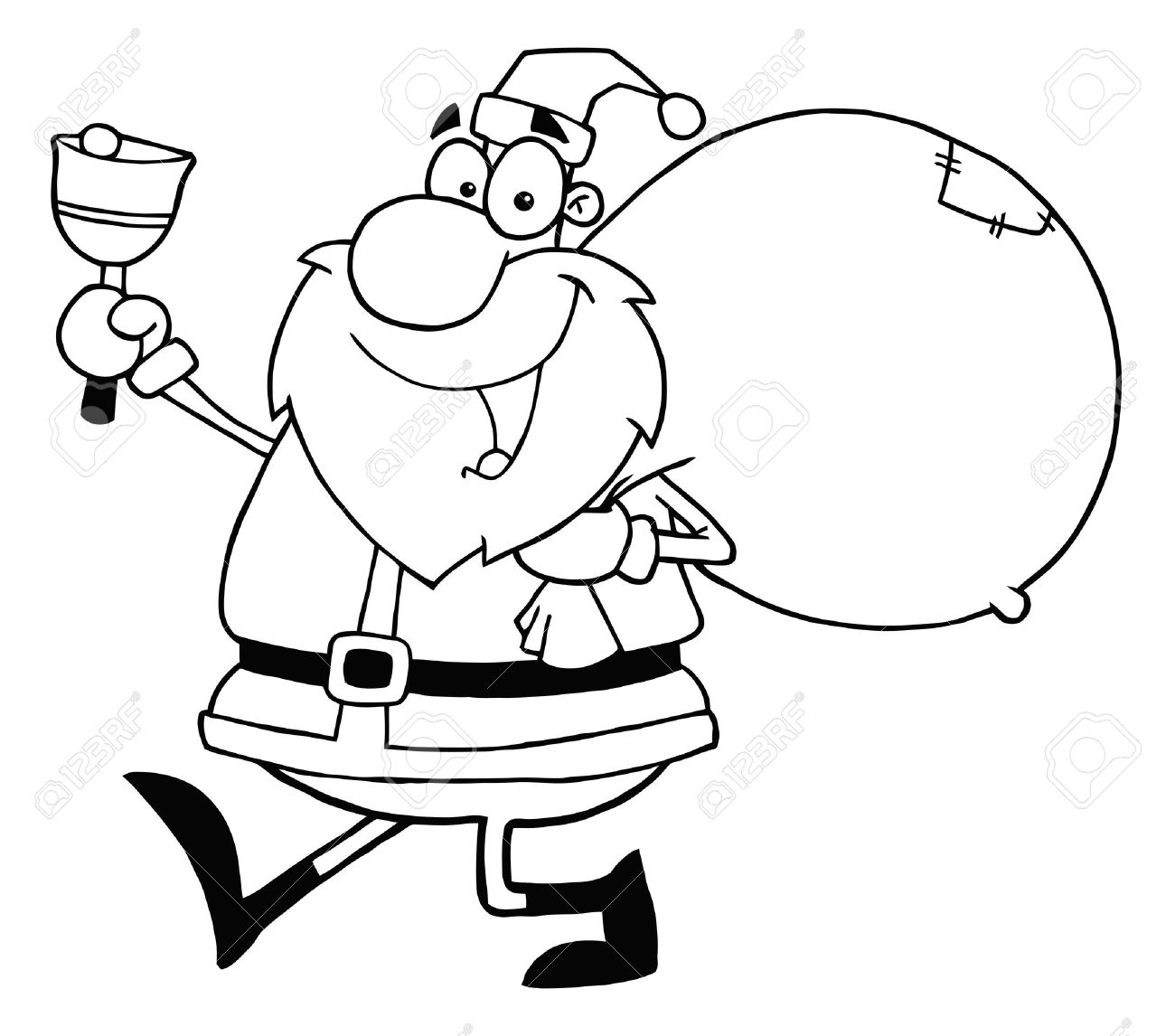 outline santa waving a bell and walking with his toy sack stock