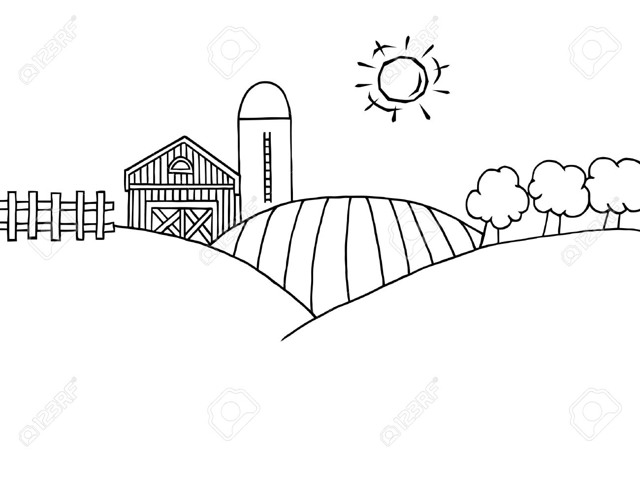 coloring page outline of rolling hills a farm and silo on farm land stock vector