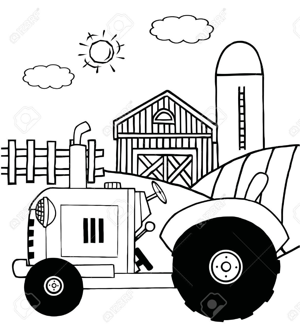 outlined farm tractor in a pasture near a barn and silo royalty free