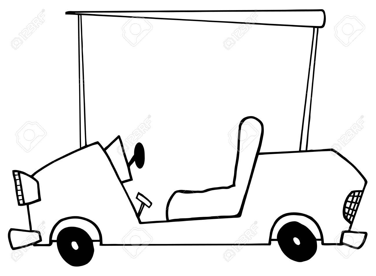 outlined golf cart royalty free cliparts vectors and stock