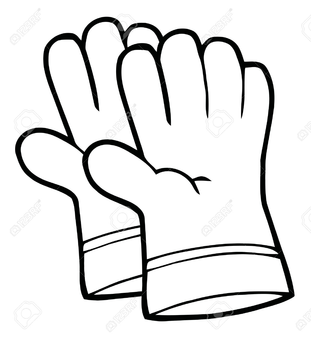 Coloring Page Outline Of A Pair Gardening Hand Gloves Stock Vector