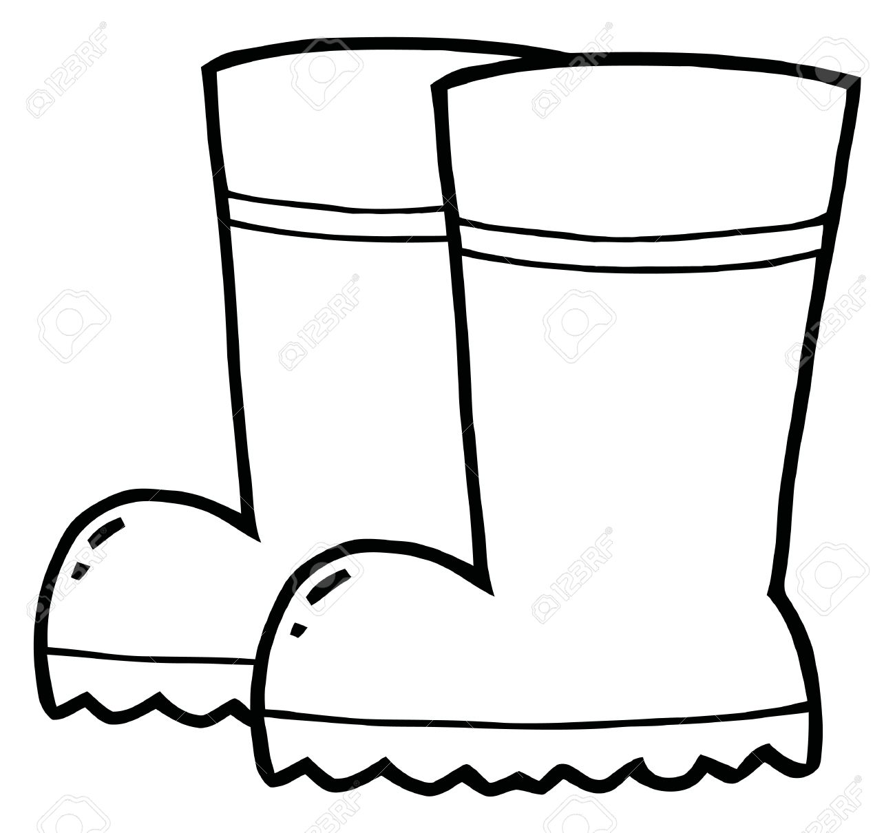 Coloring Page Outline Of A Pair Of Gardening Rubber Boots Royalty ...