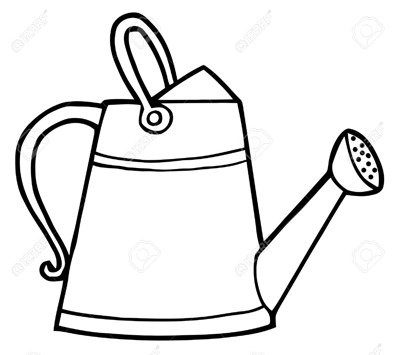 coloring page outline of a gardening watering can royalty free rh 123rf com watering can clipart free watering can clip art black white
