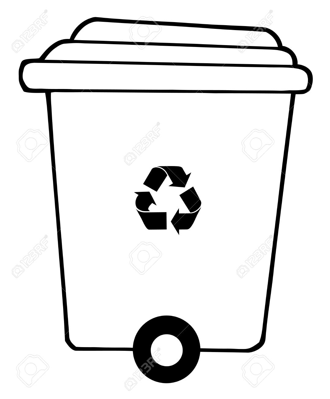 Free coloring pages recycling - Rolling Plant Recycle Bin Stock Vector 7849162