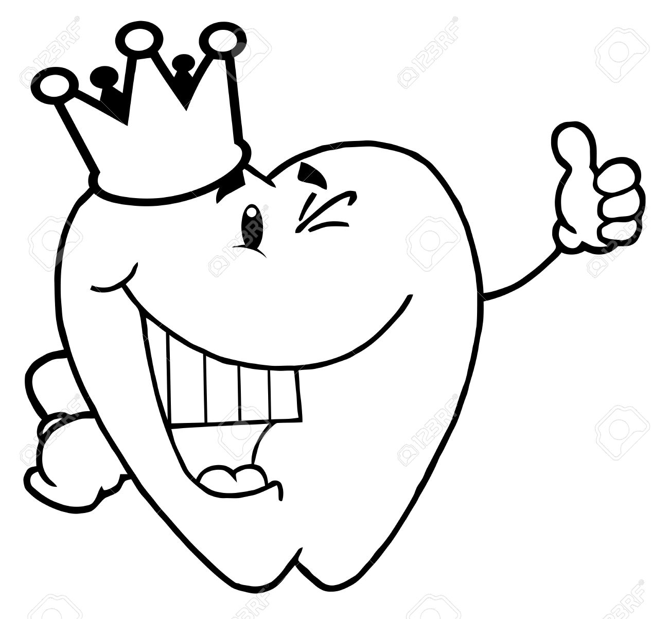 Coloring Page Outline Of A Tooth Character Royalty Free Cliparts ...