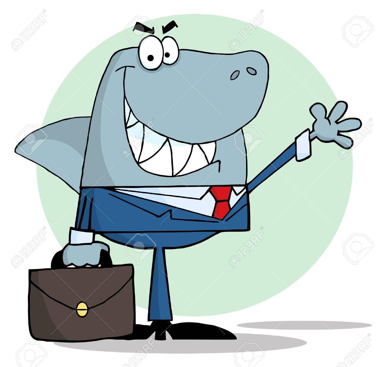Business team cartoon characters cartoon vector cartoondealer com - Salesman Cartoon Business Shark Waving A Greeting