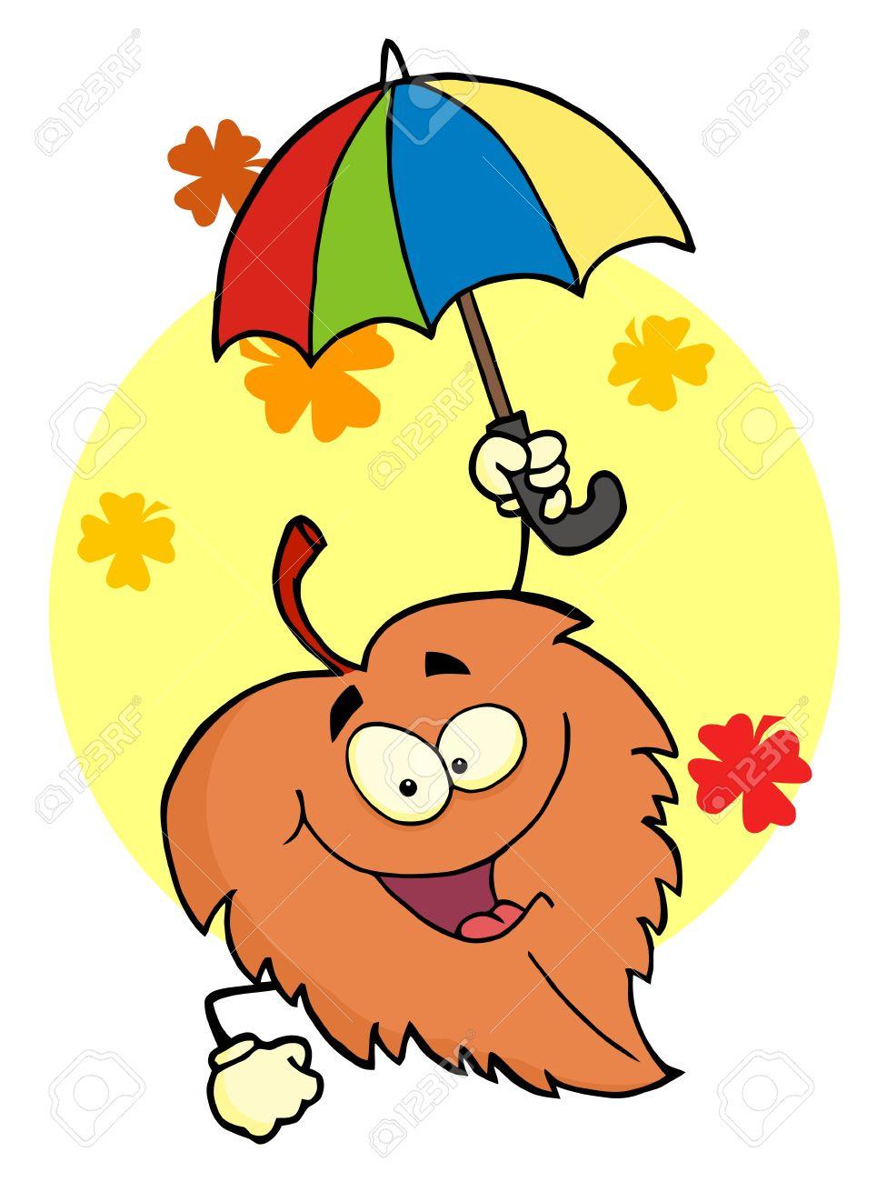 Leaf Cartoon Character With Umbrella Stock Photo - 8283978