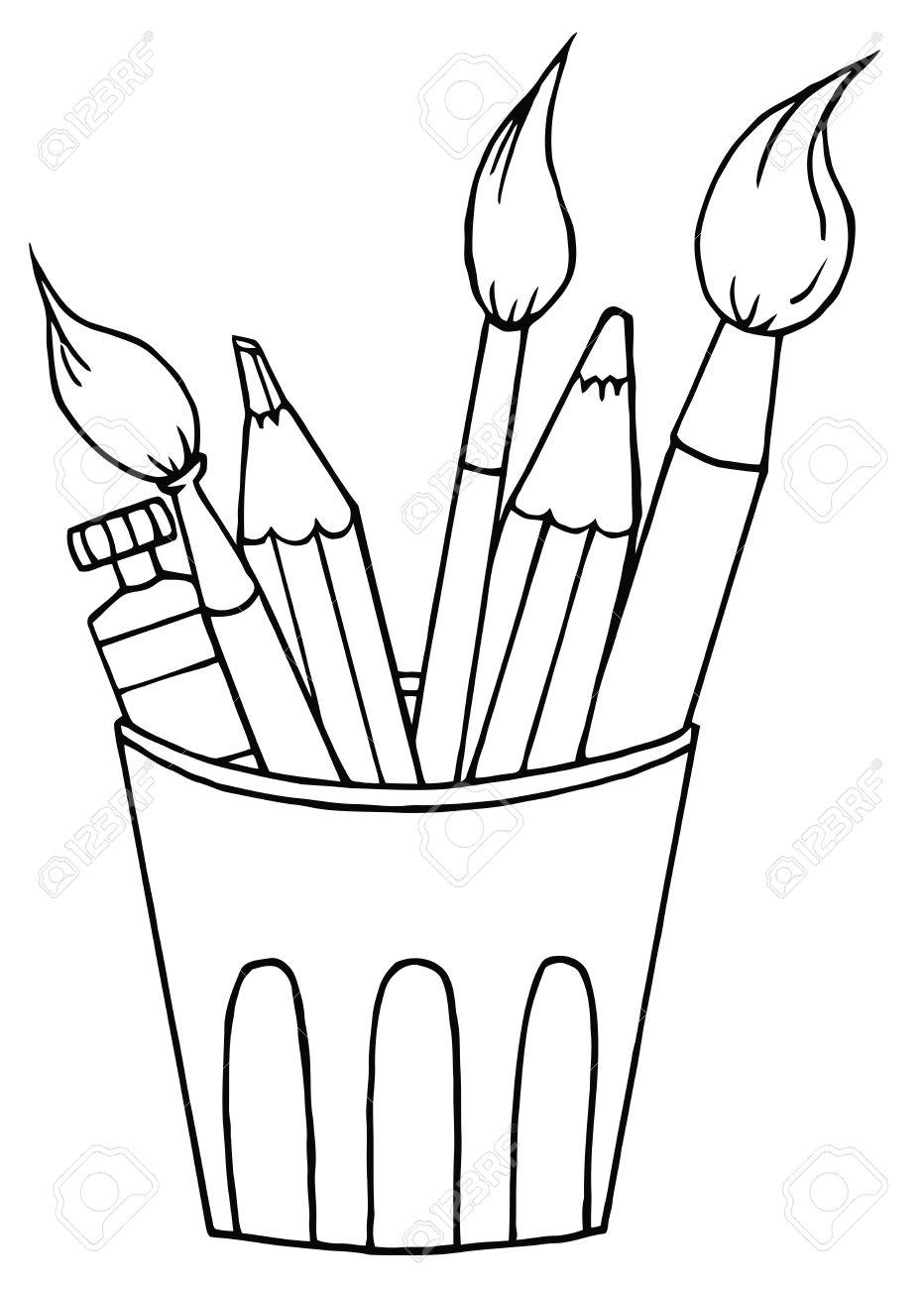 Pinsel clipart schwarz weiß  Beschriebenen Artist Pot Mit Stifte Und Pinsel Lizenzfreie Fotos ...