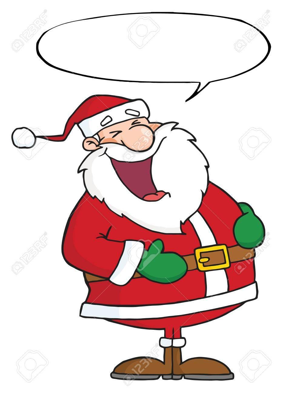 Laughs Santa Claus With Speech Bubble Stock Photo - 8284114