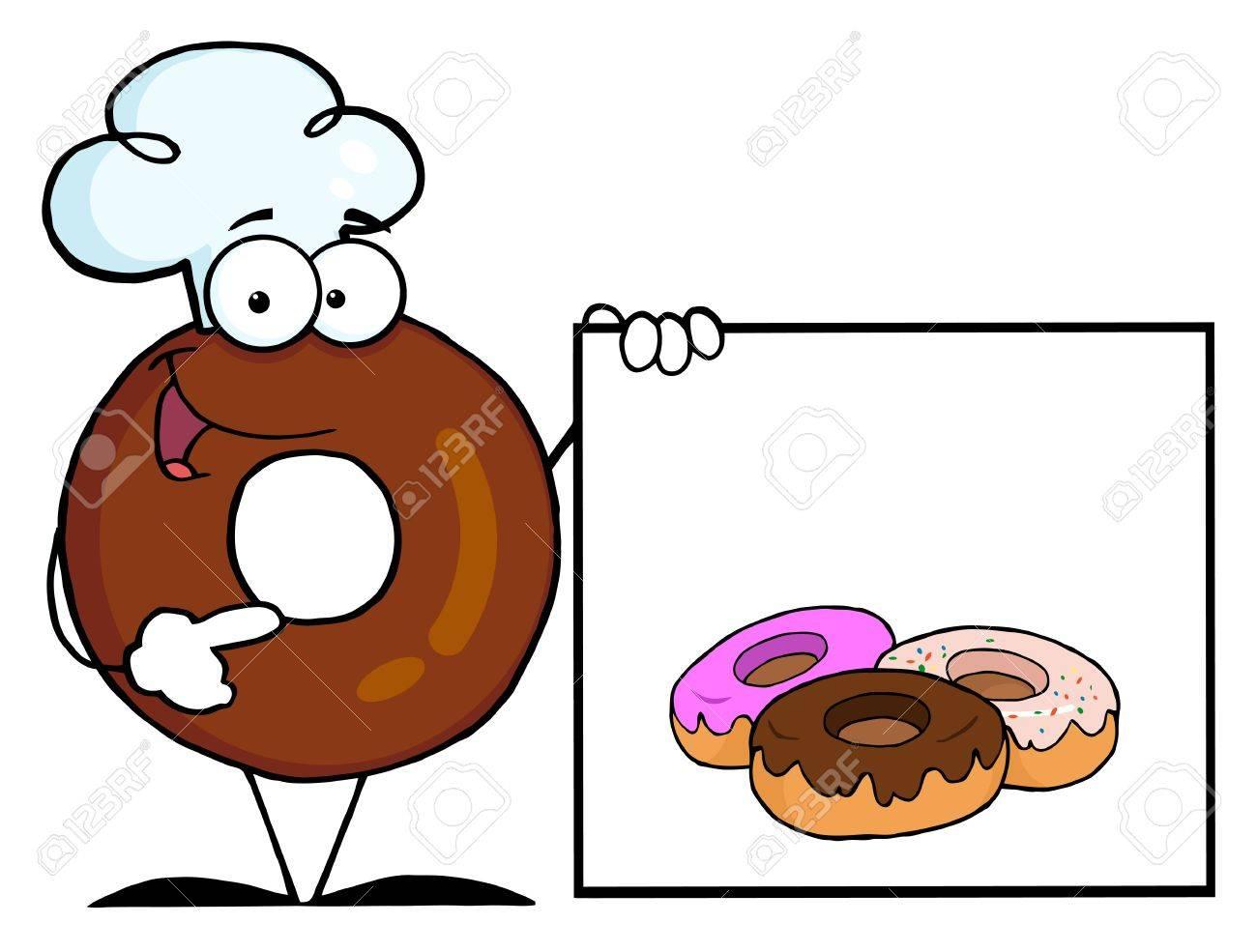 Personnage De Dessin Anime Donut Chef Presentant Un Signe Blanc