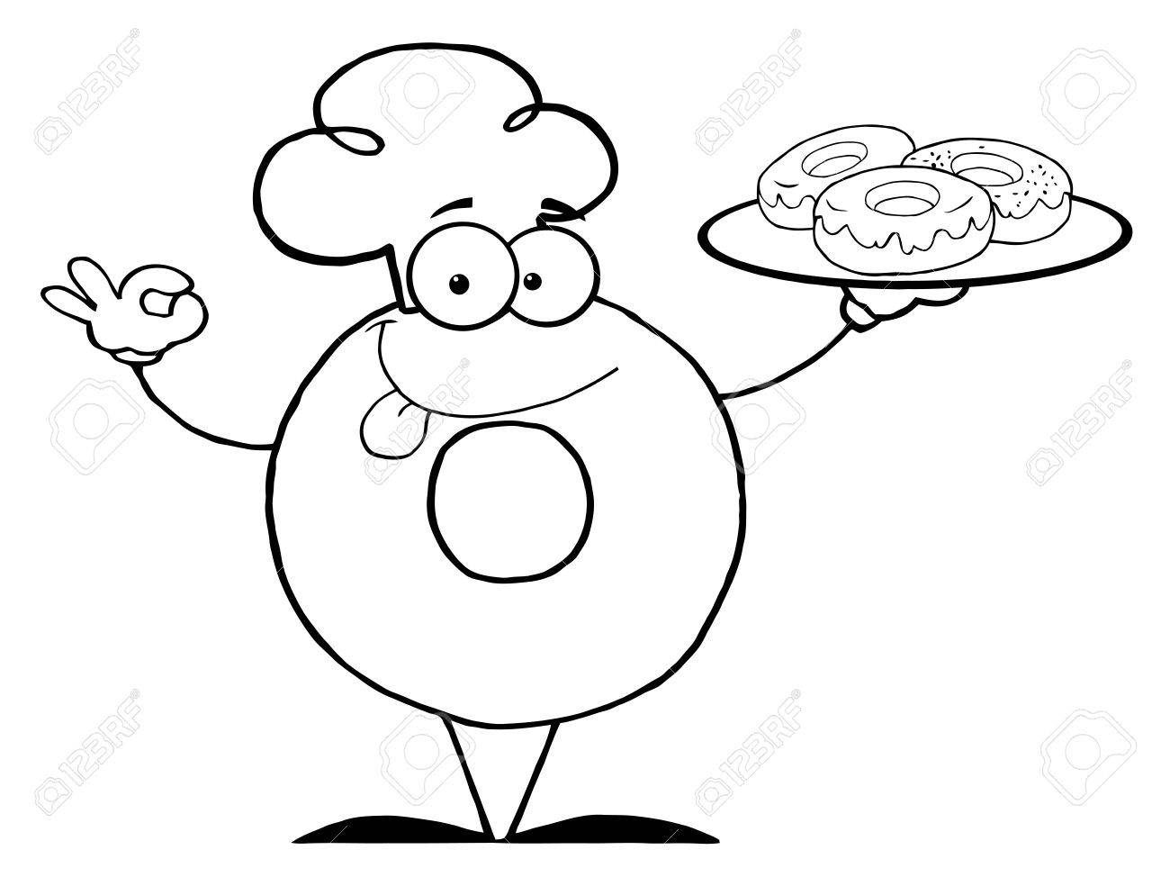 Outlined Friendly Donut Chef Cartoon Character Holding A Donuts