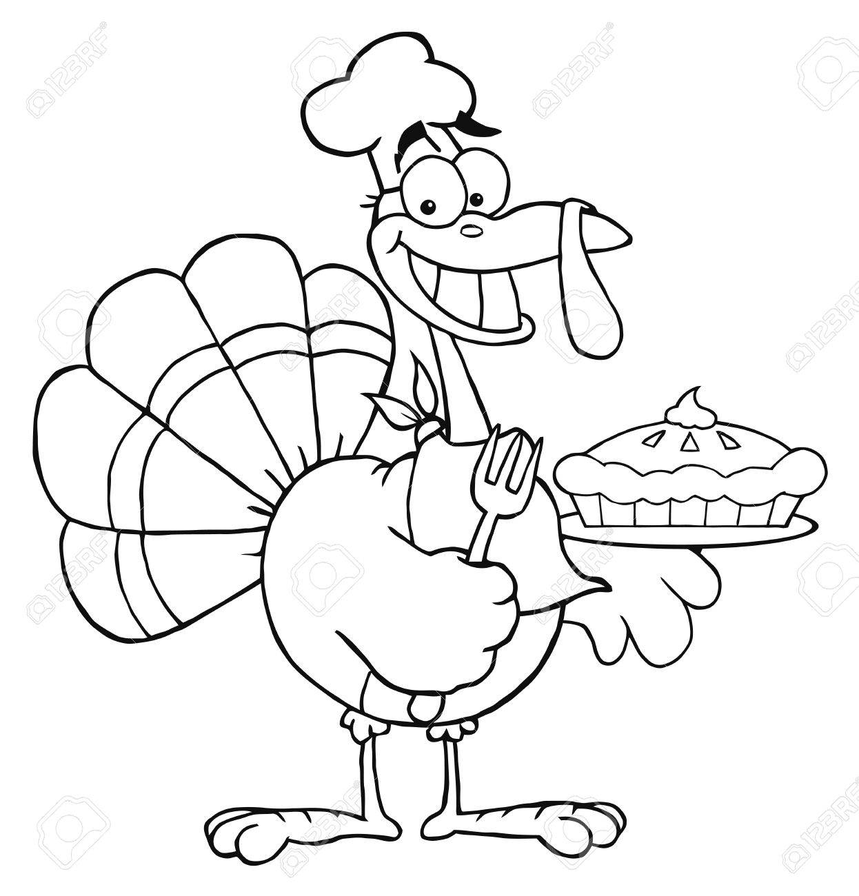 Outlined Happy Turkey Chef With Pumpkin Pie Stock Photo - 8284056
