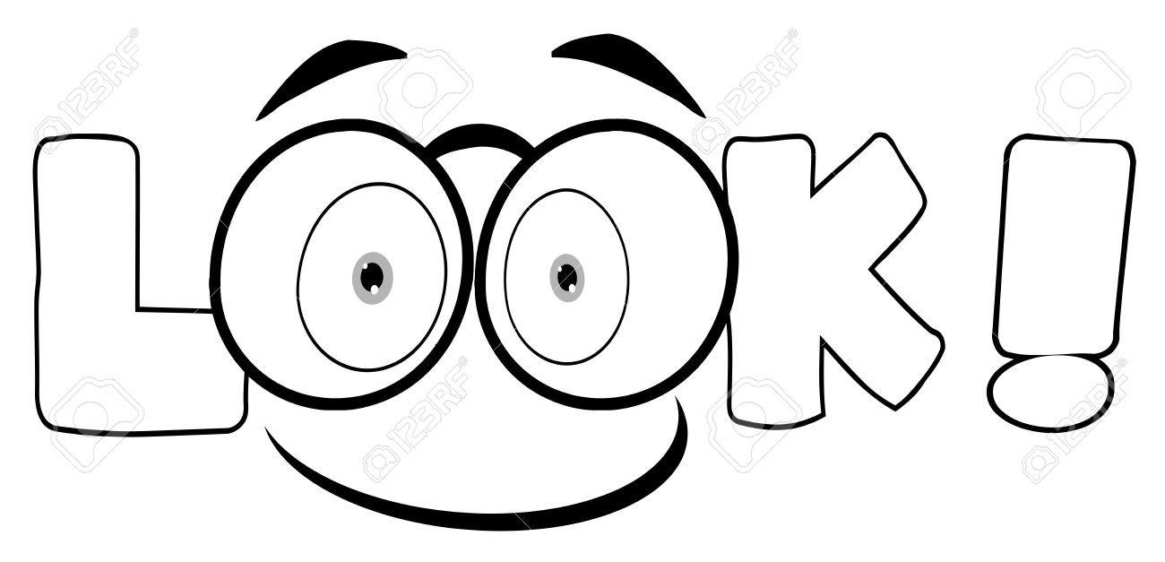 Outline Cartoon Text Look With Glasses Smile Royalty Free Cliparts