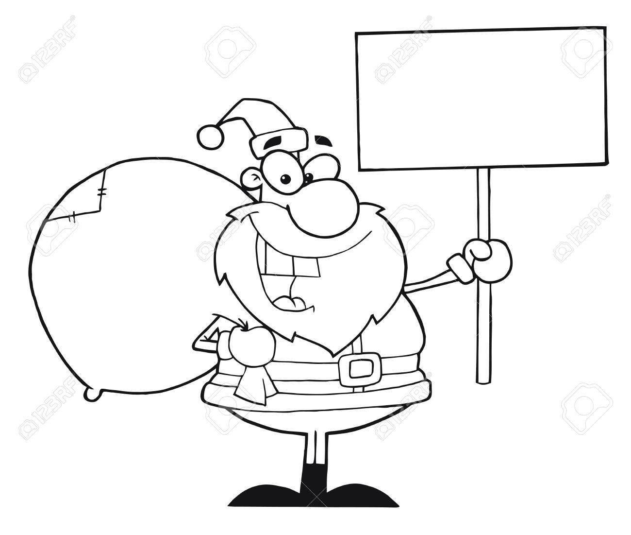 Outline Christmas Santa Holding A Blank Sign Stock Vector - 8284468