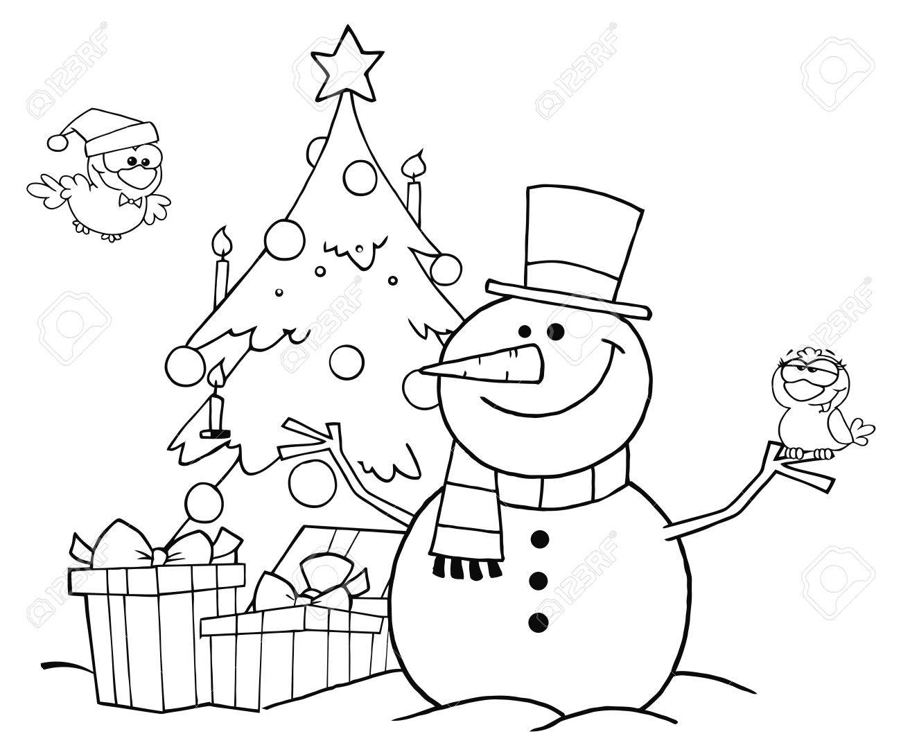 Outlined Friendly Snowman With A Cute Birds And Christmas Tree Royalty Free Cliparts Vectors And Stock Illustration Image 8284512