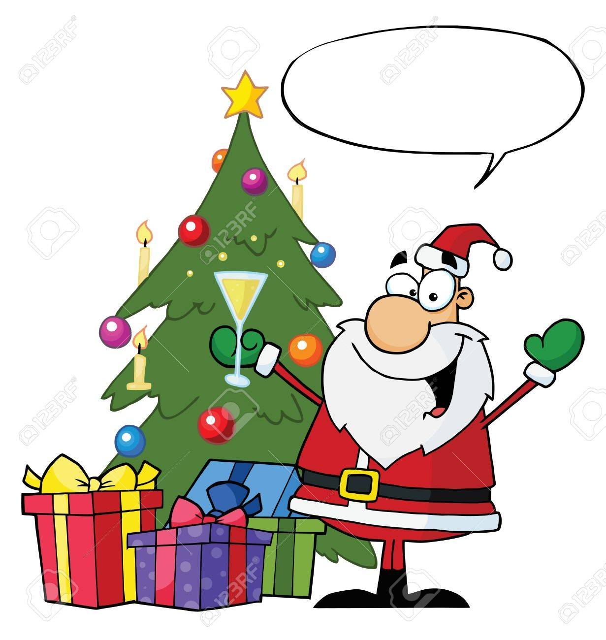Christmas Santa Drinking Champagne And Standing By A Tree With Speech Bubble Stock Vector - 8284667