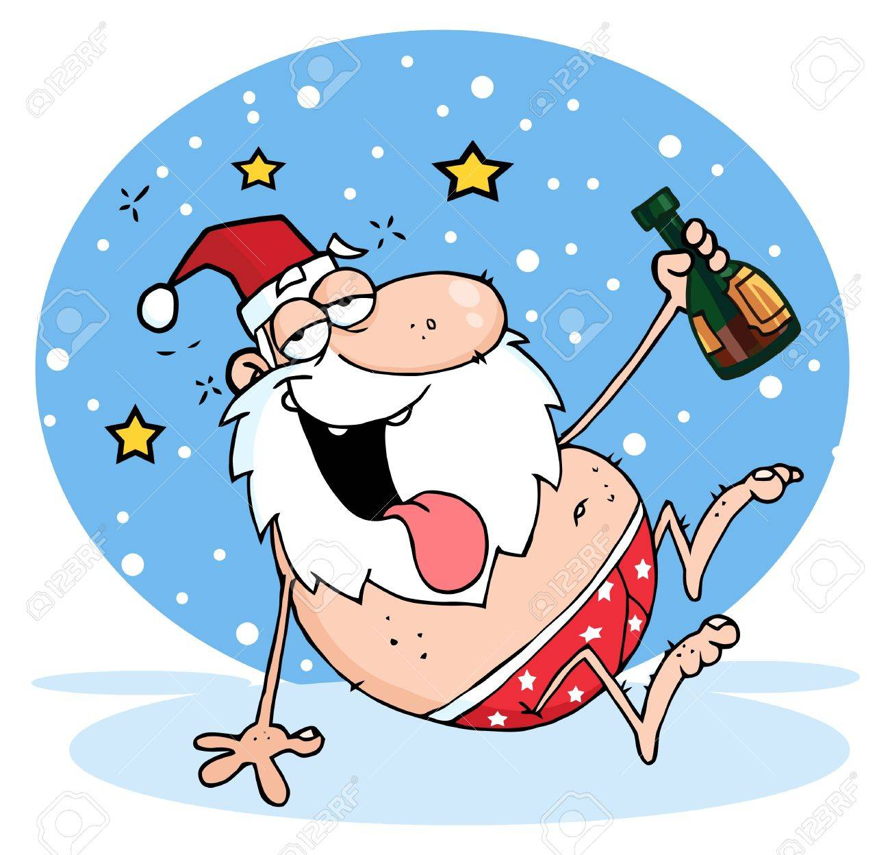 Drunk Santa Clause In The Snow Stock Vector - 8372627