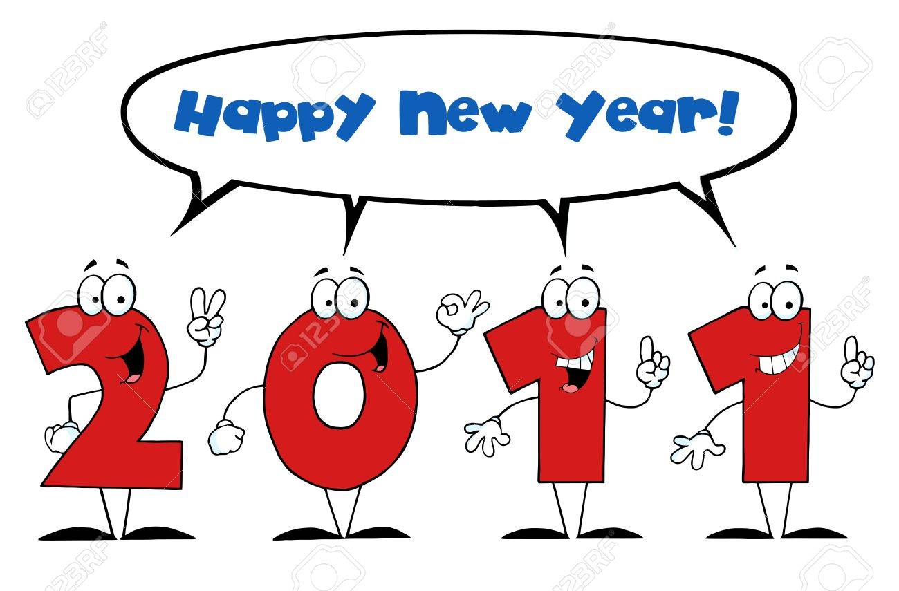2011 Year Cartoon Character With Speech Bubble And Text Stock Vector - 8372608