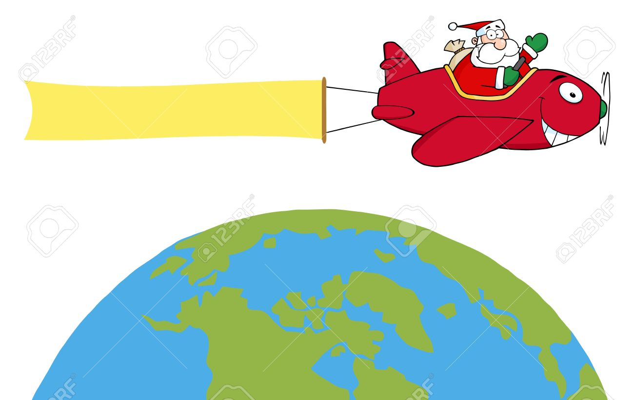 santa flying a plane banner over the globe royalty free cliparts rh 123rf com