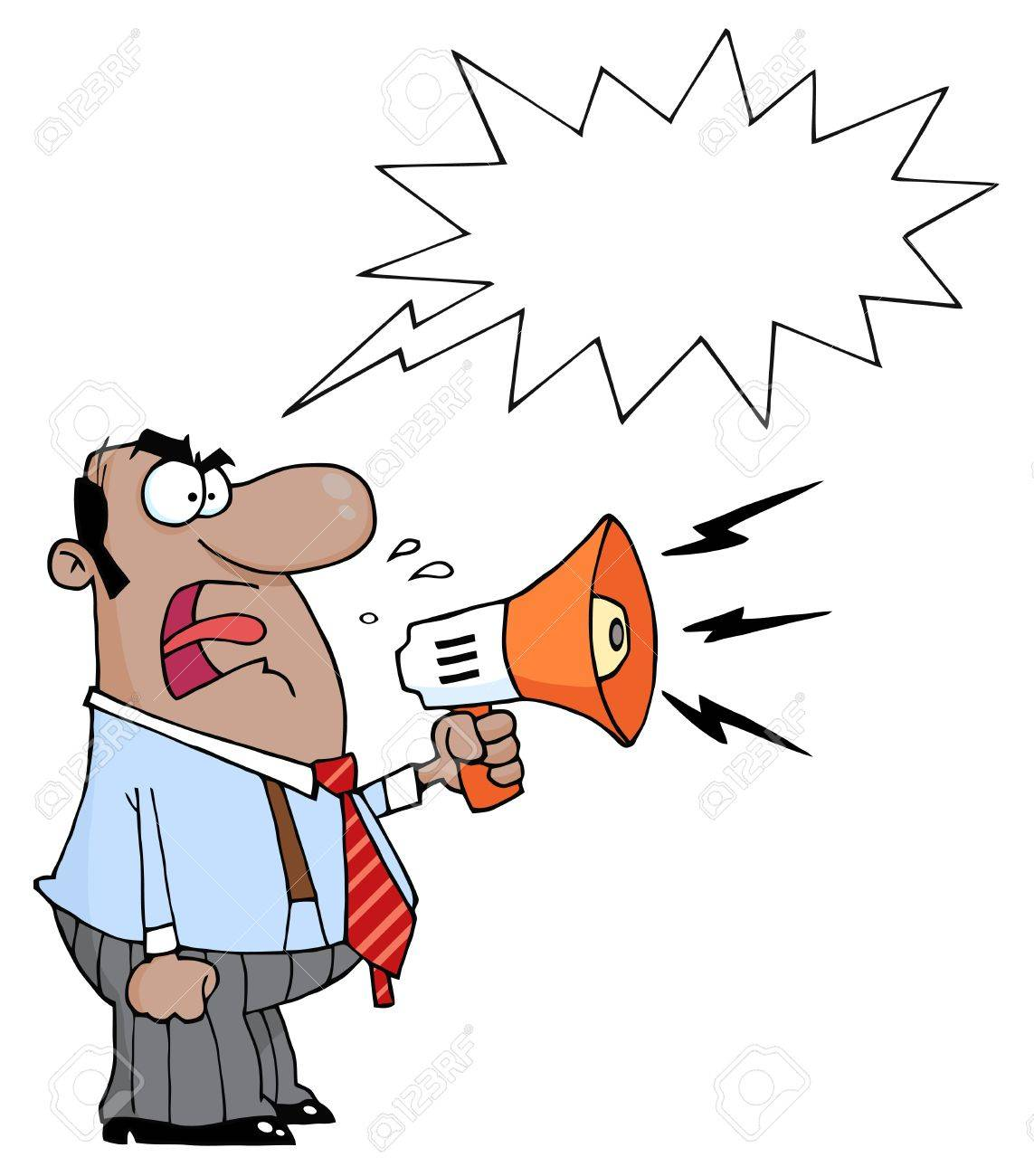 Angry African American Boss Man Screaming Into Megaphone,With A Word Balloon Stock Vector - 8644305