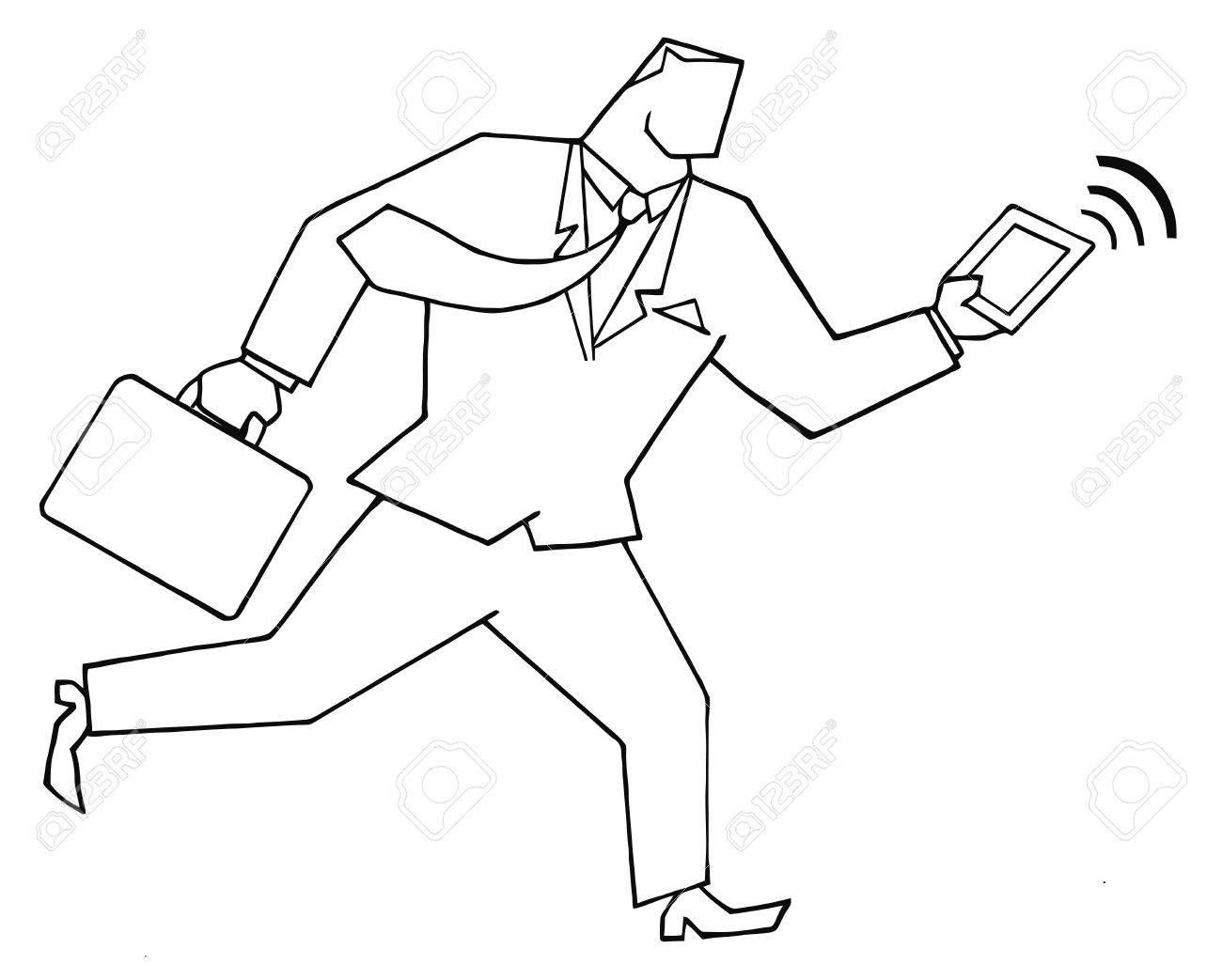 Esbozó El Hombre De Negocios Que Se Ejecuta Con Maletas Y Tablet Pc
