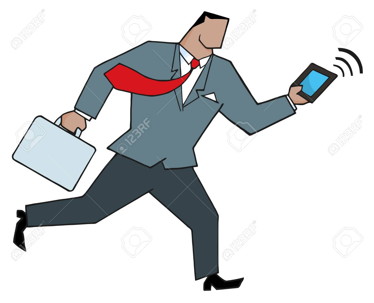 African American Businessman Running With Suitcases And Tablet Stock Vector - 8644286
