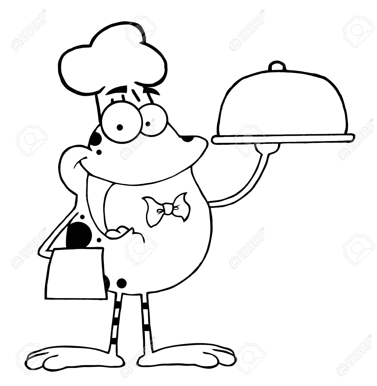 Esbozadas Rana Cartoon Mascota Carácter Chef Servir Comida En Un Plato De Astillas