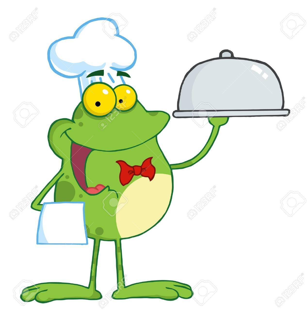 frog cartoon mascot character chef serving food in a sliver platter rh 123rf com Leaping Frog Clip Art Leaping Frog Clip Art