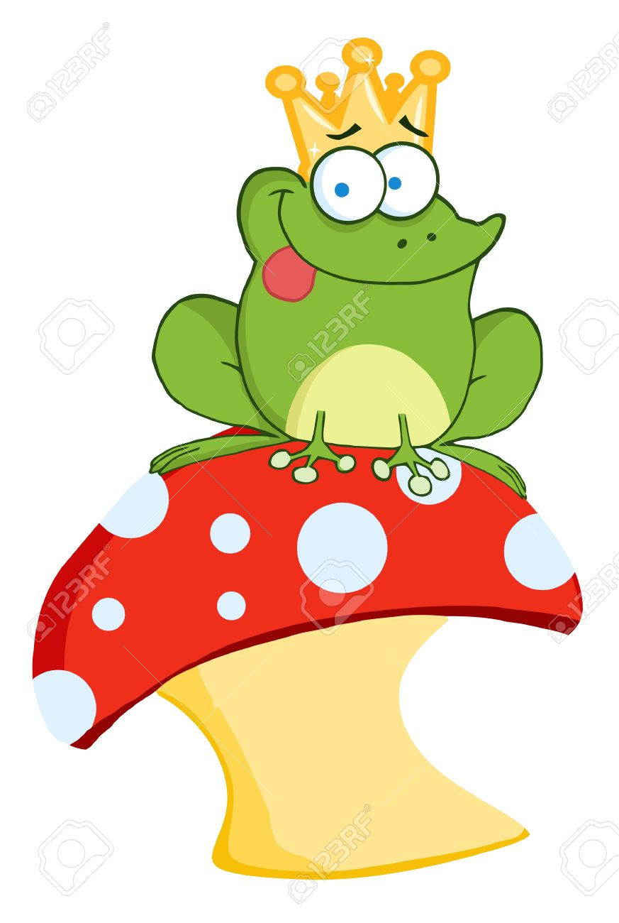Happy Frog Prince On A Toadstool Or Mushroom Stock Vector - 8721137