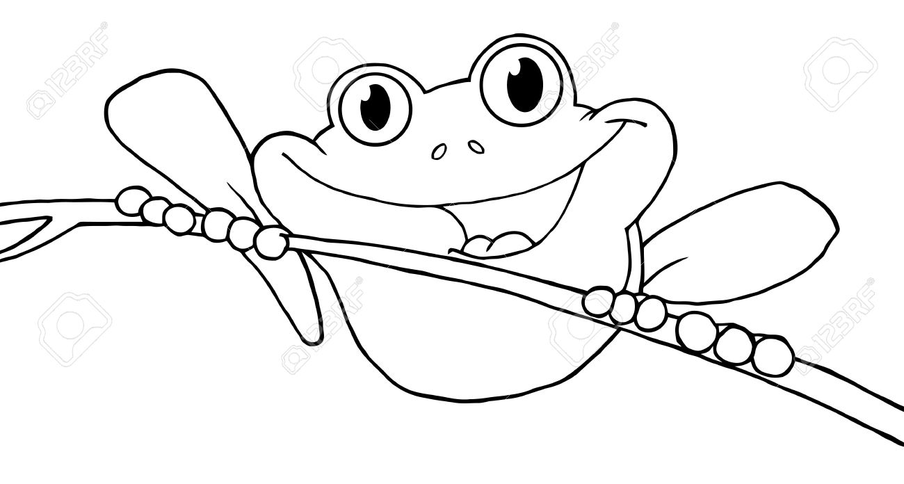 Outlined Happy Red Eyed Tree Frog Royalty Free Cliparts Vectors