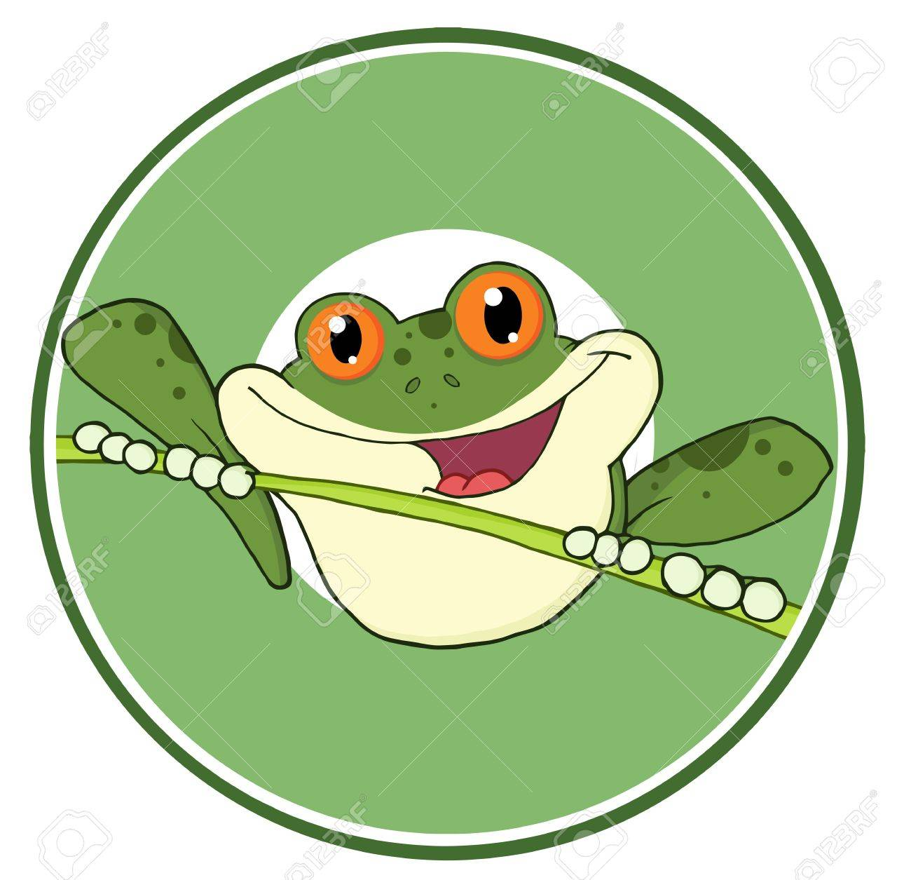 Happy Red Eyed Blue Tree Frog In Circle Banner Stock Vector - 8930316