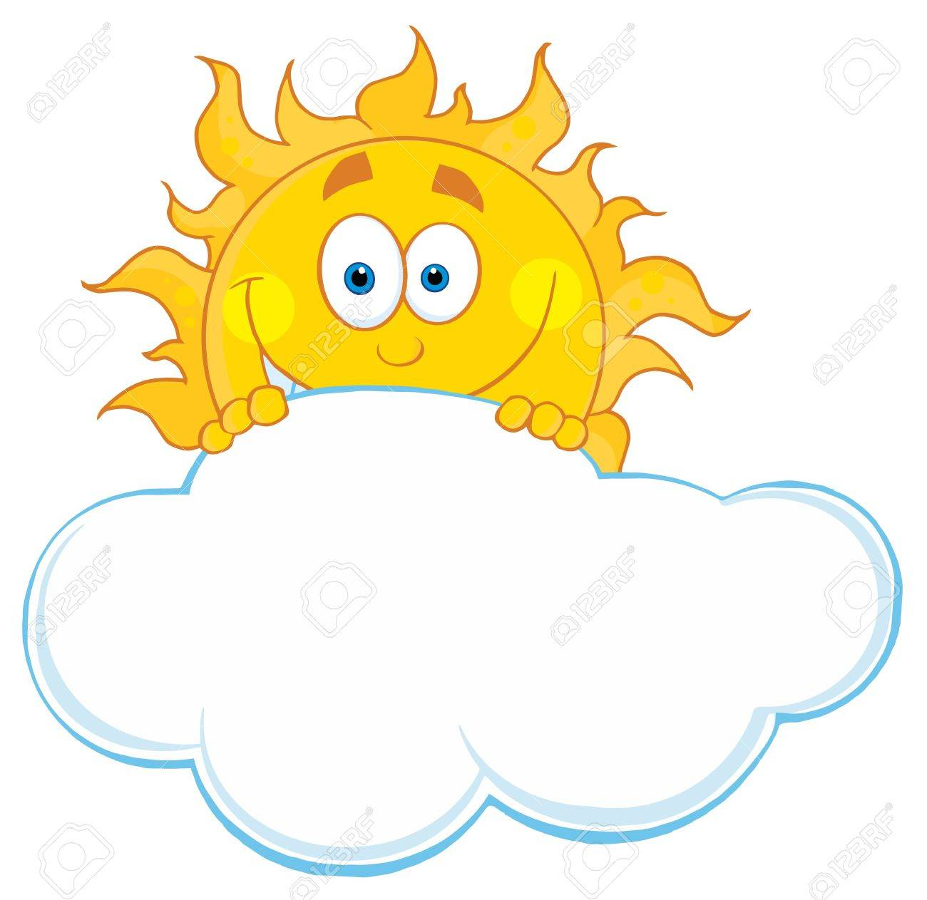 happy sun hiding behind cloud royalty free cliparts vectors and