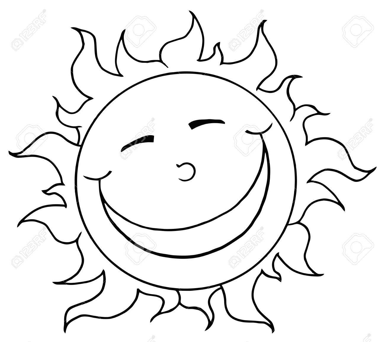 Outlined Smiling Sun Mascot Cartoon Character Stock Vector - 8930278