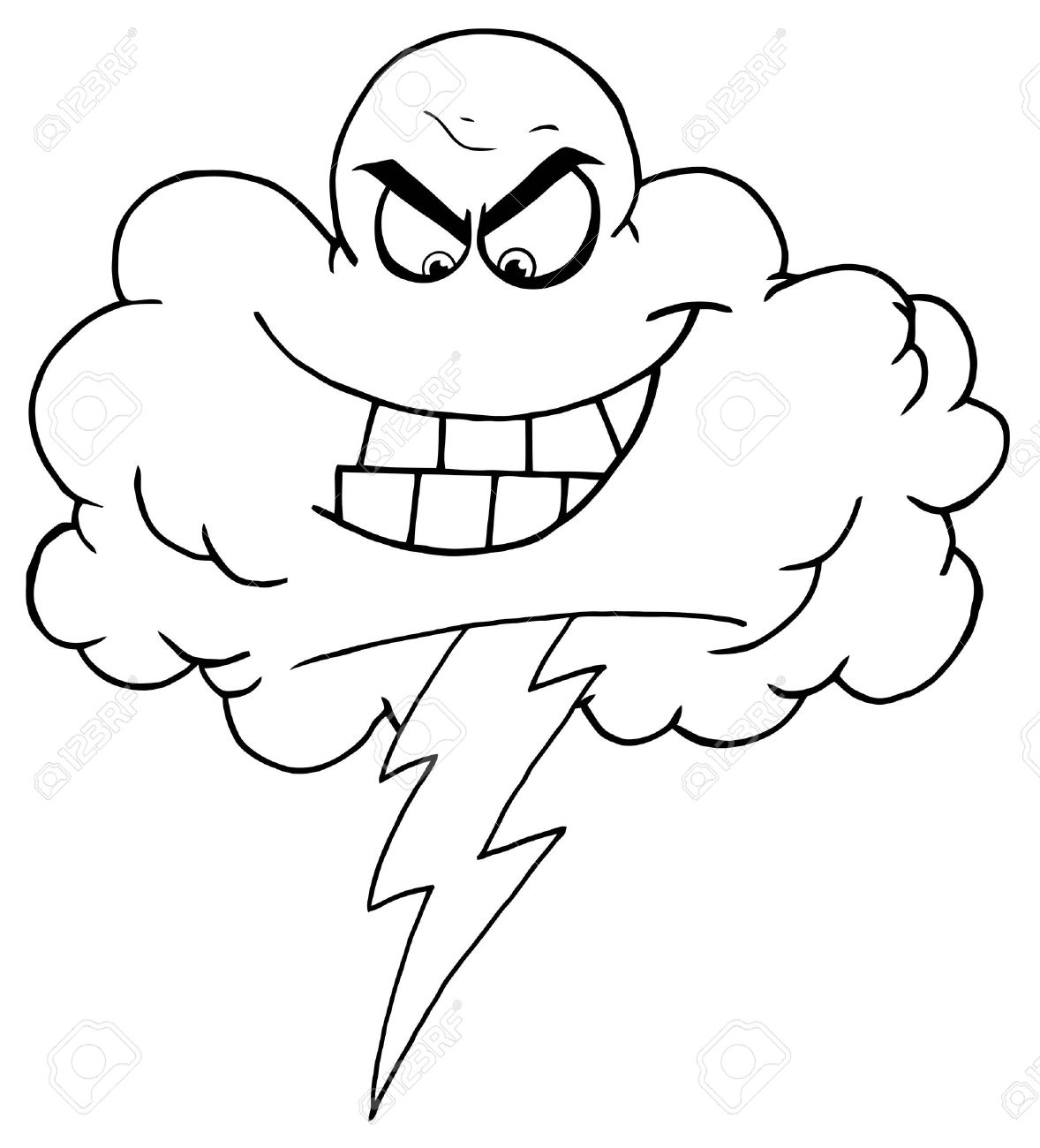 Outline Storm Cloud With Thunderbolt Royalty Free Cliparts