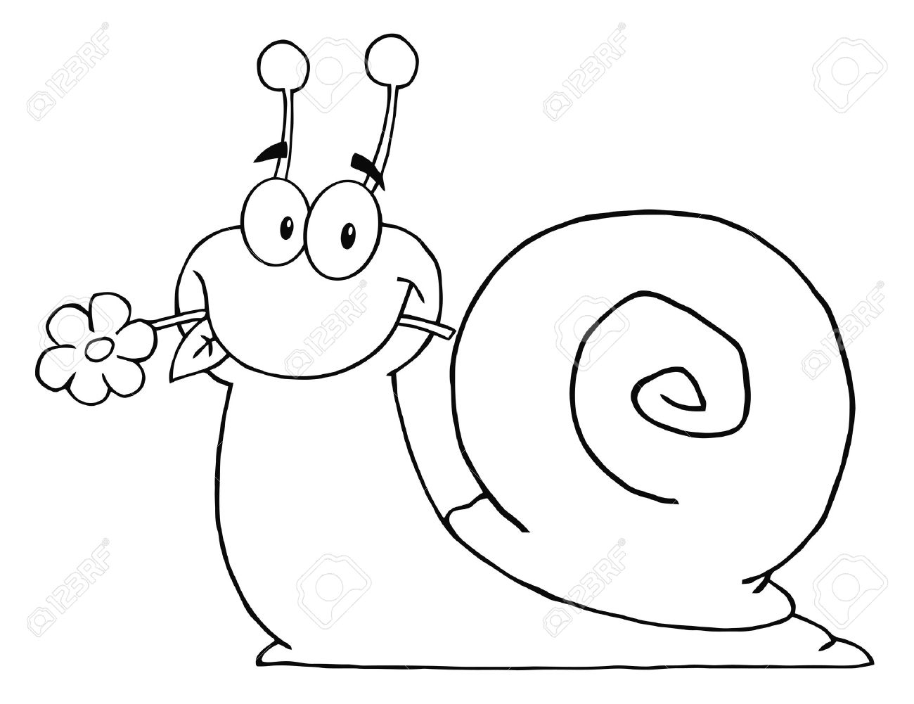 outlined cartoon snail with a flower in its mouth royalty free