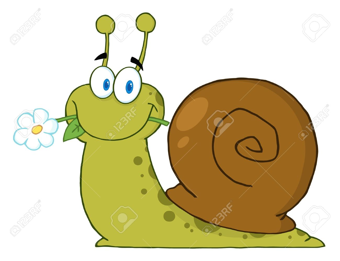 Happy Cartoon Snail With A Flower In Its Mouth Stock Vector - 9152416