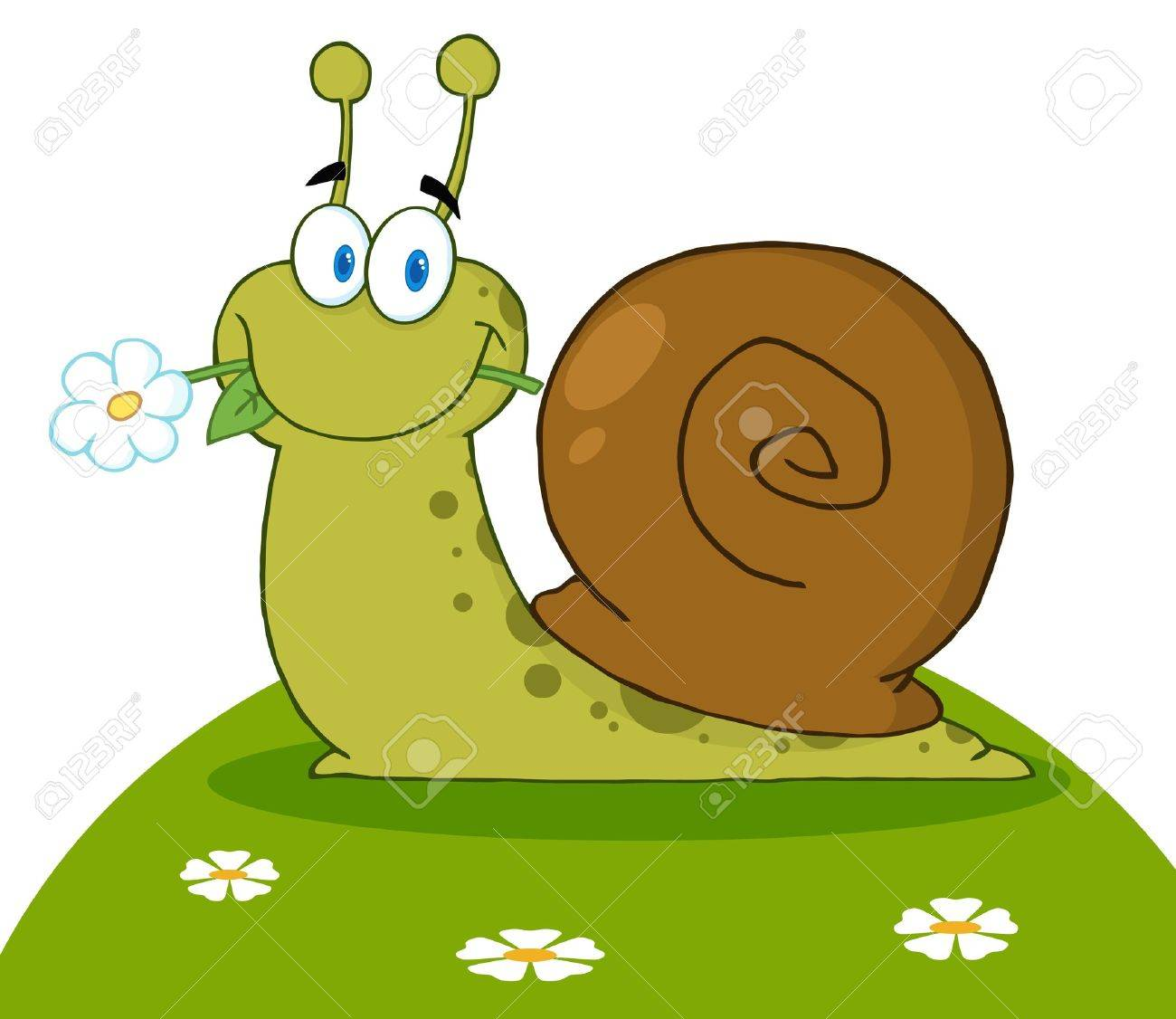 Happy Snail With A Flower In Its Mouth On A Hill Stock Vector - 9152418