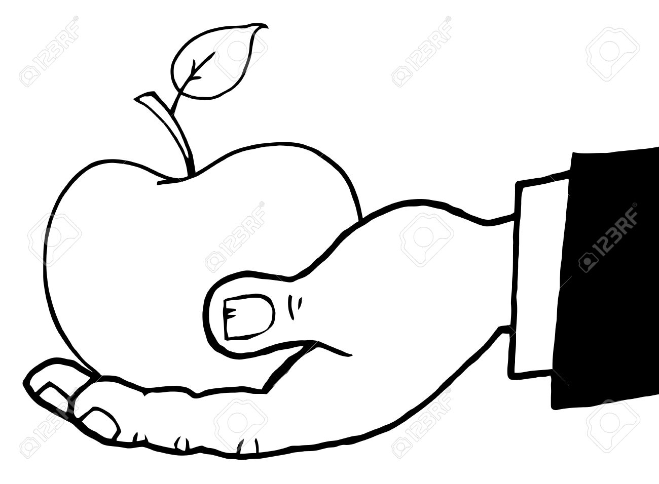 Outlined Hand Holding A Red Apple Stock Vector - 9276565